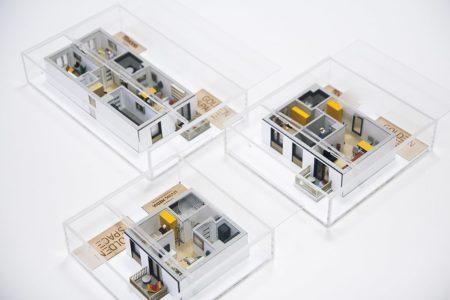 modele mieszkań w skali 1:50. Cięcie laserowe oraz druk 3D.